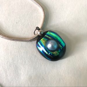 Blue pearl Dichroic Glass pendant with chain